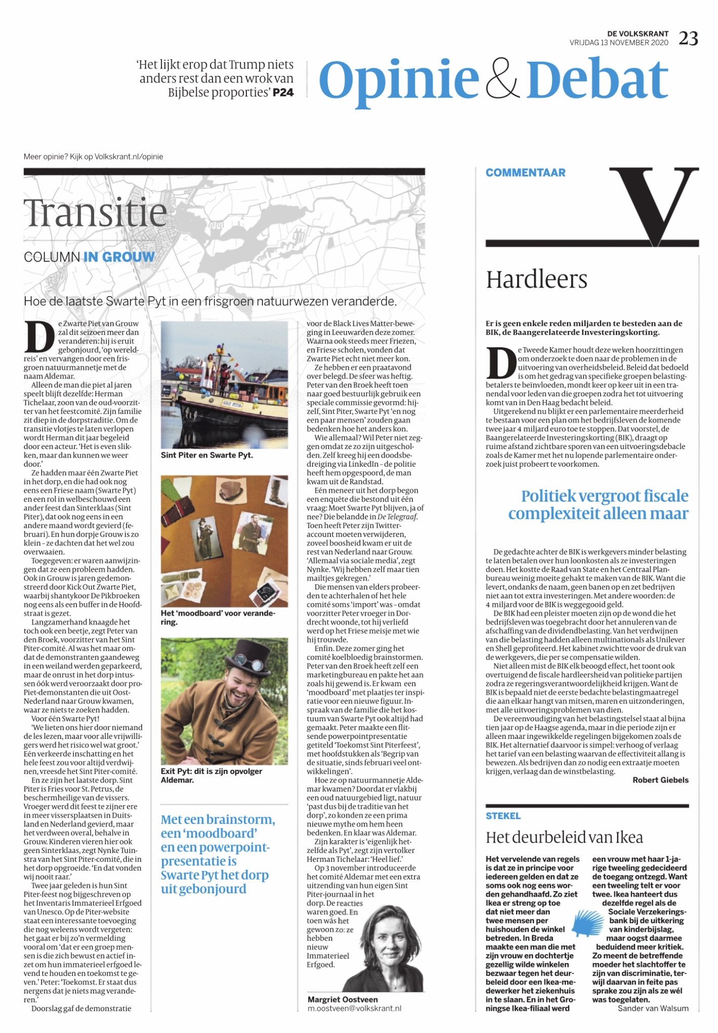 Volkskrant transitie Sint Piterfeest